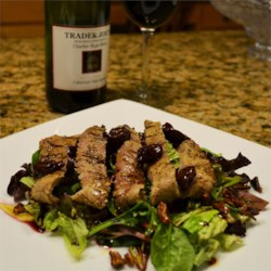 Grilled Peppercorn Steak and Caramelized Pecan Salad with Cabernet-Cherry Vinaigrette Recipe