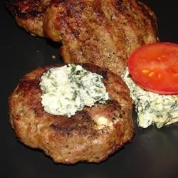 Burgers: Summer Feta Burger with Gourmet Cheese Spread Stress Red Wine Red Onion Recipe Details Onion Garlic Hot Summer Night Gourmet Cheese Garlic Feta Cheese Burgers