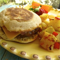 Johnsonville Italian Sausage Sliders as a breakfast sandwich