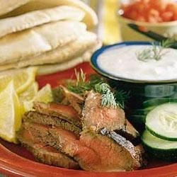 London Broil Sandwiches with Yogurt-Cucumber Sauce Recipe