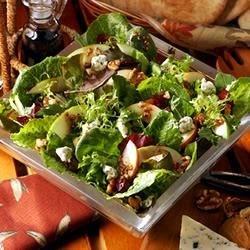 Seasonal Orchard Salad and Balsamic Vinaigrette with Apples and Bleu Cheese