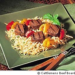 Beef Kabobs with Parmesan Orzo Recipe