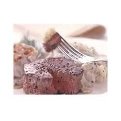 Photo of Filet Mignon with Peppercorn Mustard Sauce by Cooking Light magazine