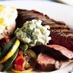 Grilled Strip Steaks with Horseradish Guacamole Recipe