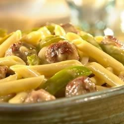 Cheddar Penne with Sausage and Peppers Recipe