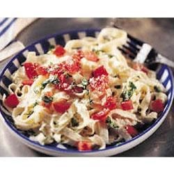 Fettuccine with Ricotta, Tomatoes and Basil Recipe