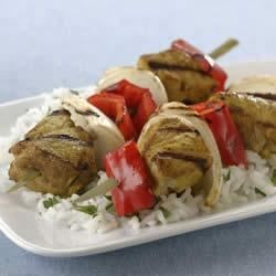 Grilled Indian Pork Kabobs with Sweet Onions and Red Bell Peppers Recipe
