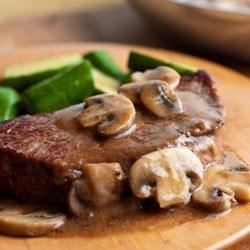 Swanson(R) Pan-Seared Steaks with Mushroom Gravy Recipe
