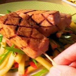 Grilled Ham Steak Kabobs with Peach Slaw Recipe