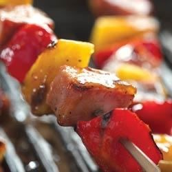 Peachy Barbecued Ham Kabobs Recipe
