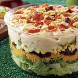 Bone-Crunching Layered Salad with Mustard-Beer Dressing & Pretzel Crunchers Recipe