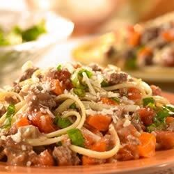 Linguine with Savory Meat Sauce