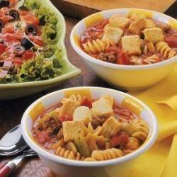 Beefy Tomato Pasta Soup