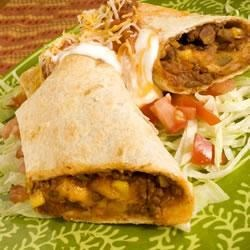 Baked Beef and Bean Chimichangas Recipe