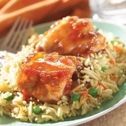 Savory Apricot Chicken with Vegetable Rice Recipe