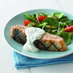 Photo of Grilled Salmon with Herb Sauce by Breakstone's and Knudsen Family of Products