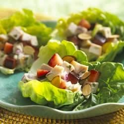 Tarragon Turkey Salad Lettuce Cups with Plums and Toasted Almonds ...