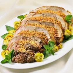 Mozzarella-Stuffed Leg of Lamb