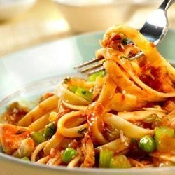Spicy Tuna and Tomato Sauce with Fettuccine