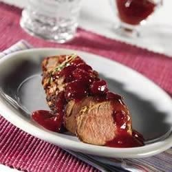 Pork Tenderloin in Mustard Marinade with Cherry Compote Recipe