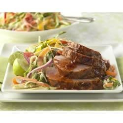 Smoke And Fire Pork Tenderloin with Sweet Onion Slaw Recipe