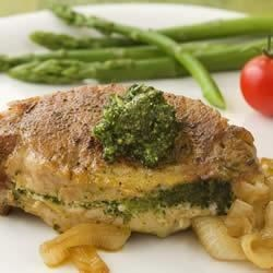 Pesto-Stuffed Pork Chops with Caramelized Onions Recipe