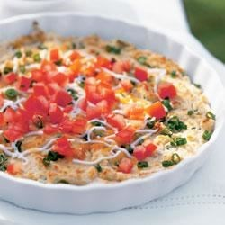Tomato Topped Cheese and Bean Dip