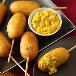Mini Corn Dogs with Green Chile Mustard