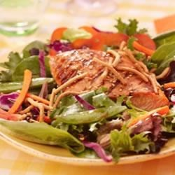 Grilled Salmon, Snap Peas and Spring Mix Salad with Chow Mein Noodles Recipe