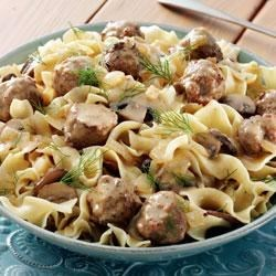 Meatball and Mushroom Stroganoff with Dill Sauce and Noodles Recipe