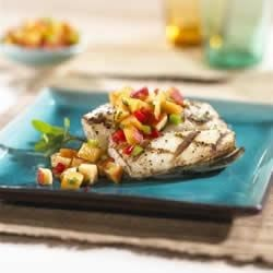 Photo of Grilled Fish with Nectarine Mint Salsa by EatCaliforniaFruit.com