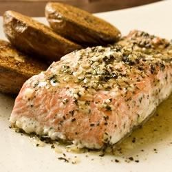 Baked Salmon with Basil and Garlic