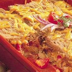 Cheddar Strata with Grilled Onions Recipe