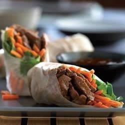 Beef Spring Rolls with Carrots and Cilantro Recipe