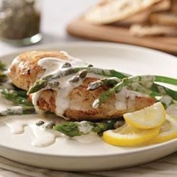 Photo of Creamy Chicken Piccata and Asparagus by PHILADELPHIA Cooking Creme