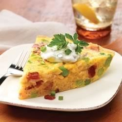 Brown Rice Frittata with Bacon and Edamame Recipe