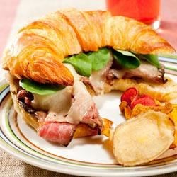 London Broil, Aged Cheddar and Watercress on Croissant with Horseradish Mayonnaise Recipe