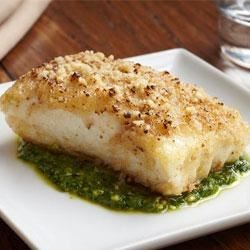 Photo of Crusted Halibut Filet with Arugula Pesto by Chef Mike Isabella for California Walnuts