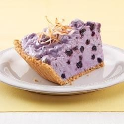 Fluffy Blueberry Cream Pie with Toasted Coconut |