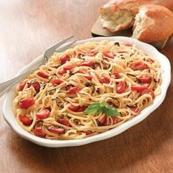 Mediterranean Linguine with Basil and Tomatoes Recipe