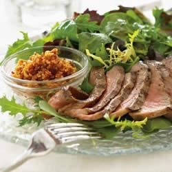 Mixed Greens with Grilled Steak and Walnut Romesco Recipe