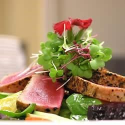 Pan Seared Ahi Tuna, Baby Beets and Watercress Salad with Ginger Vinaigrette Recipe