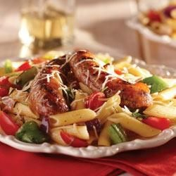 Grilled Italian Sausage and Peppers over Penne Pasta Recipe