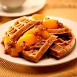 Sweet Potato Pecan Waffles with Praline Peaches Recipe