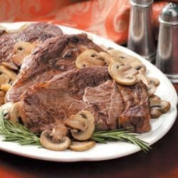 Photo of Garlic-Mushroom Rib Eyes by Kelly Ward-Hartman