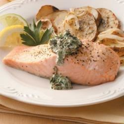 Photo of Salmon with Spinach Sauce by Taste of Home Test Kitchen