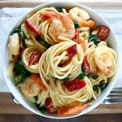 Photo of Creamy Goat Cheese Pasta with Spicy-Sweet Peppers & Shrimp by DeLallo Foods