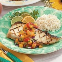 Photo of Halibut with Zesty Peach Salsa by Taste of Home Test Kitchen