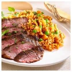 Grilled Steak with Red Tomato Rice Recipe