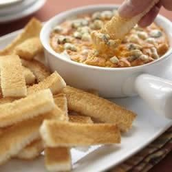 Buffalo Chicken Cheese Dip with Wonder Bread Fingers Recipe